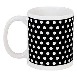 """Кружка """"Белый горох на Чёрном фоне"""" - стиль, белый, минимализм, горох, чёрный фон"""