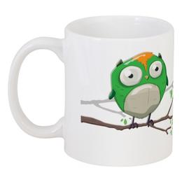 """Кружка """"Зеленый совенок. Нет кофе, нет работы"""" - прикол, юмор, смешное, надпись, птица, работа, в подарок, сова"""