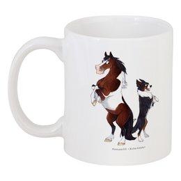 """Кружка """"Подушка Пегий пони/ Трехцветный бордер-колли"""" - лошадь, собака, пони, подарок, бордер-колли"""