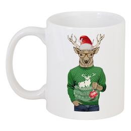 """Кружка """"С Олень новогодний в свитере"""" - новый год, олень, свитер, новогодний, с одеждой"""