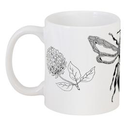"""Кружка """"Шмель и клевер"""" - арт, цветок, клевер, природа, шмель"""