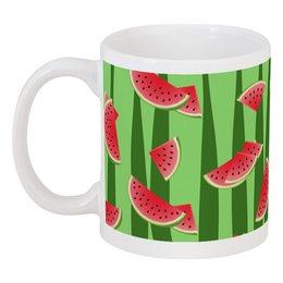 """Кружка """"Арбуз"""" - полоска, красный, зеленый, арбуз, семена"""