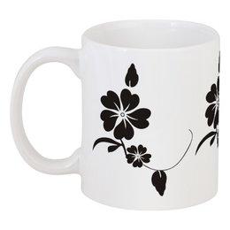 """Кружка """"black flower"""" - цветы, узор, купить, чай, кофе"""