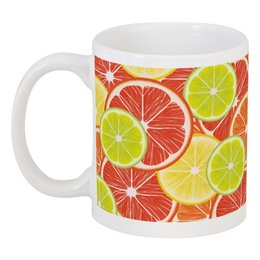 "Кружка ""Цитрусы"" - апельсин, лайм, лимон, грейпфрут, дольки"