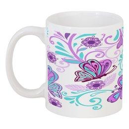 """Кружка """"Цветные бабочки"""" - бабочки, цветы, узор, весна, природа"""