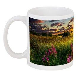 "Кружка ""закат в поле"" - цветы, красота, облака, природа, закат"