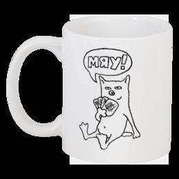 """Кружка """"Кот Мяу (кружка)"""" - кот, кошка, прикольно, арт, животные, рисунок, прикольные, животное"""