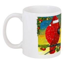 """Кружка """"Новый Год на ветке"""" - новогодний сувенир, подарок к новому году, чашка с рождественским рисунком, чашка с красными птичками, птица кардинал"""