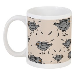 "Кружка ""Птички"" - серый, бежевый, птица, птички, паттерн"