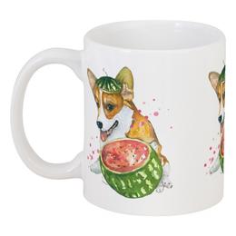 """Кружка """"Сочный август"""" - собака, арбуз, корги, пемброк, вельшкорги"""