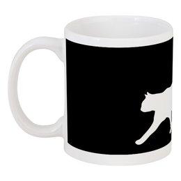 "Кружка ""Силуэт белой кошки."" - кот, кошка, силуэт, животное, любимец"