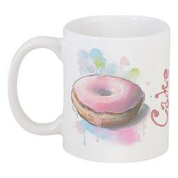 """Кружка """"Cake your day"""" - пончик, донат, сладости, акварель"""