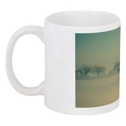 "Кружка ""Туман в лесу."" - лес, деревья, туман"