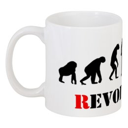 "Кружка ""Evolution - Revolution"" - революция, обезьяна, эволюция, revolution, evolution"