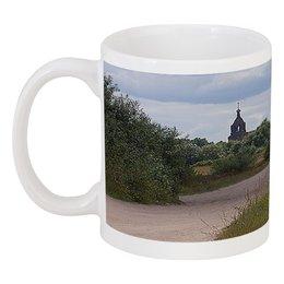 """Кружка """"Дорога домой."""" - дорога, природа, пейзаж, церковь, колокольня"""