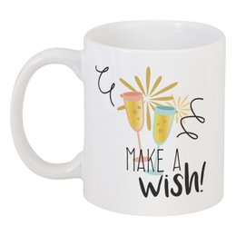 """Кружка """"Make a wish"""" - праздник, др, с днём рождения, день рождения, make a wish"""
