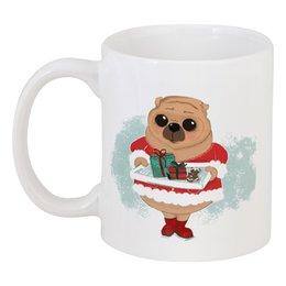 """Кружка """"Мопс новогодний"""" - рисунок, собака, рождество, мопс, новыйгод"""