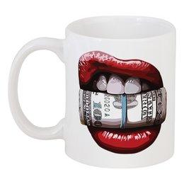 """Кружка """"Губы и доллары"""" - деньги, губы, lips, доллары, dollars"""