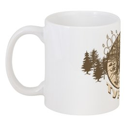 "Кружка ""Турист"" - палатка, лес, деревья, стул, стол"