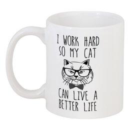"""Кружка """"I Work Hard"""" - кот, прикольные, работа, коты, work hard"""