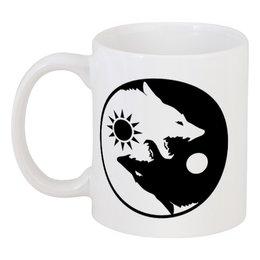 "Кружка ""Инь и ян"" - собаки, инь и ян, добро и зло, светлое и тёмное"
