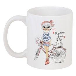 """Кружка """"Девушка и котёнок"""" - девушка, велосипед, котёнок, друг"""