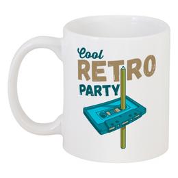 """Кружка """"Cool retro party"""" - 90-x, ретроград, кассета, юмор, ретро"""