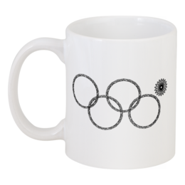 """Кружка """"Нераскрывшееся кольцо (снежинка)"""" - олимпиада, сочи 2014, нераскрывшееся кольцо, нераскрывшаяся снежинка, олимпийская эмблема"""