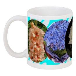 """Кружка """"Цветочная поляна."""" - цветы, роза, василек, гладиолус, георгин"""