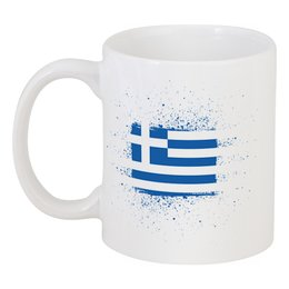 "Кружка ""Греческий флаг (гранж)"" - флаг, символика, греческий, греция, greek"