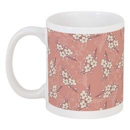"""Кружка """"Цветочный принт"""" - цветы, вишня, ветка, фон, грязно-розовый"""