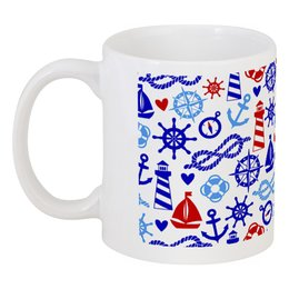 "Кружка ""Морские знаки"" - якорь, штурвал, канат, компас, морские знаки"