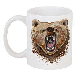 """Кружка """"Медведь"""" - bear, медведь, i love russia, пиксель, клыки"""