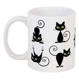 """Кружка """"Кошки 7"""" - рисунок, кошки, зелёные глаза, чёрная кошка"""
