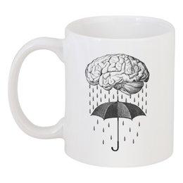 """Кружка """"Brain rain"""" - арт, мозг, прикольные, дождь, зонт"""