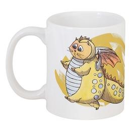 """Кружка """"Yellow charm"""" - кот, прикольно, арт, дракон, рисунок, прикольные, cat, в подарок, оригинально, dragon"""