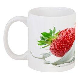 """Кружка """"Клубника"""" - еда, фрукты, ягоды, клубника, сливки"""