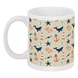 "Кружка ""Акулы"" - море, якорь, акула, морская звезда, обитатели моря"