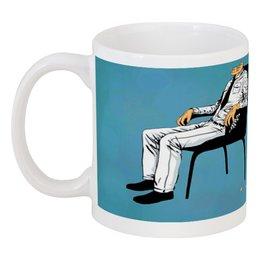 """Кружка """"Рассыпался на пиксели"""" - арт, человек, пиксель, пиксели, кресло"""