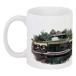 """Кружка """"Полицейский автомобиль"""" - ретро, авто, зеленый, транспорт, фары"""