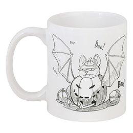 "Кружка ""Halloween "" - хэллоуин, тыква, летучая мышь"