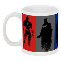 "Кружка ""Супергерои"" - силуэт, америка, комиксы, супергерои"