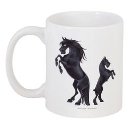 """Кружка """"Фелл-пони/Ризеншнауцер"""" - лошадь, собака, фриз, ризеншнауцер"""