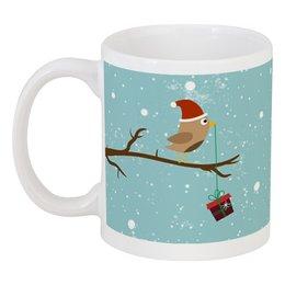 """Кружка """"Подарочек"""" - подарок, птичка, рождество, санта, merry christmas"""