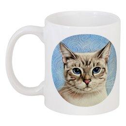 """Кружка """"Котик на голубом фоне"""" - кот, кошка, арт, cat, в подарок, eyes, иллюстрация, blue"""