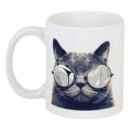 """Кружка """"кот в очках"""" - кот, прикол, очки, кот в очках"""