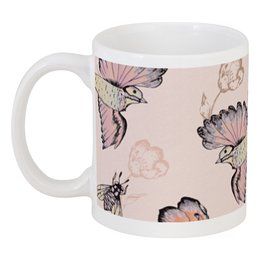 """Кружка """"Птицы и пчёлы"""" - цветы, птицы, природа, пчёлы"""