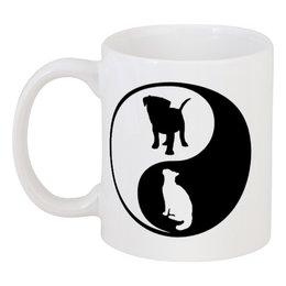 """Кружка """"Инь и ян"""" - кошка, собака, инь и ян, светлое и тёмное"""