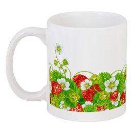 "Кружка ""Земляничная поляна"" - лето, цветы, ягоды, земляника"