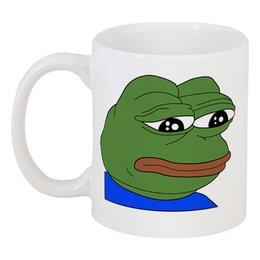 """Кружка """"SAD FROG"""" - арт, юмор, мем, грустная лягушка, sad frog"""